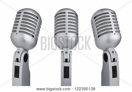 Set of vintage microphones isolated on white background