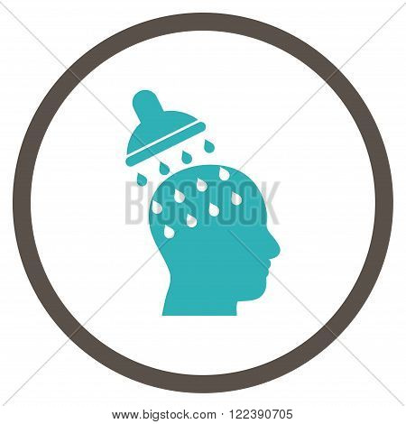 Brain Washing vector bicolor icon. Picture style is flat brain washing rounded icon drawn with grey and cyan colors on a white background.