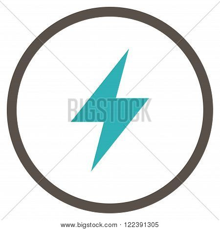 Electrical Strike vector bicolor icon. Picture style is flat electric strike rounded icon drawn with grey and cyan colors on a white background.