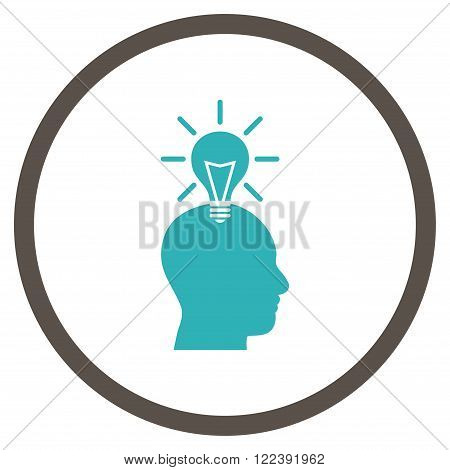 Genius Bulb vector bicolor icon. Picture style is flat genius bulb rounded icon drawn with grey and cyan colors on a white background.