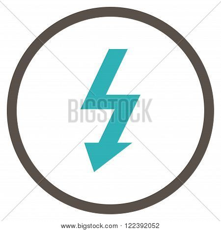 High Voltage vector bicolor icon. Picture style is flat high voltage rounded icon drawn with grey and cyan colors on a white background.