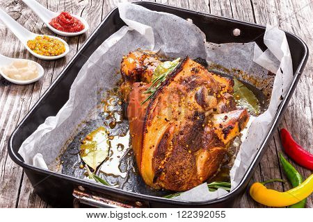 roast pork knuckle with rosemary pepper garlic mustard