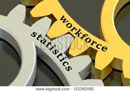 Workforce statistics concept on the metallic gearwheels