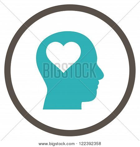 Lover Head vector bicolor icon. Picture style is flat lover head rounded icon drawn with grey and cyan colors on a white background.