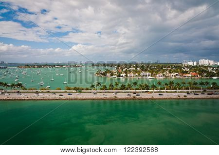 Bird's-eye view of MacArthur causeway and Palm Island in intercoastal waters of Miami Florida