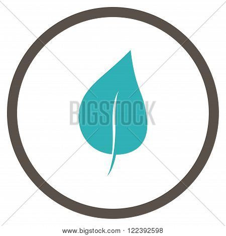 Plant Leaf vector bicolor icon. Picture style is flat plant leaf rounded icon drawn with grey and cyan colors on a white background.