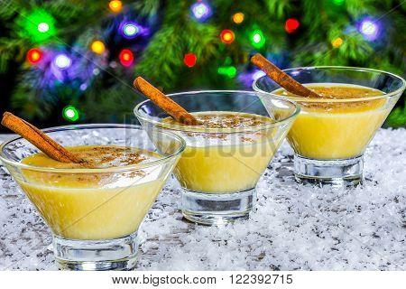 eggnog with cinnamon for christmas , side view