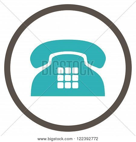Tone Phone vector bicolor icon. Picture style is flat tone phone rounded icon drawn with grey and cyan colors on a white background.