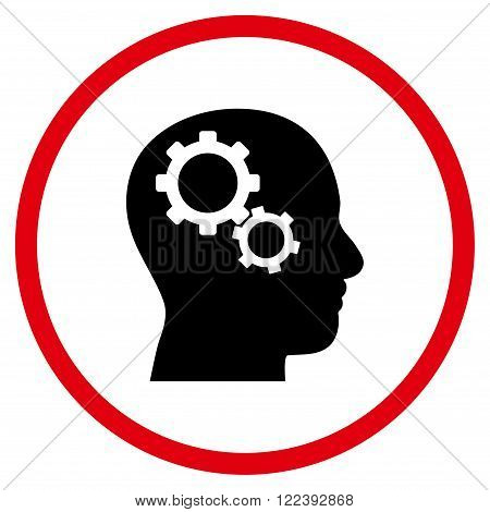 Brain Preferences vector bicolor icon. Picture style is flat brain gears rounded icon drawn with intensive red and black colors on a white background.