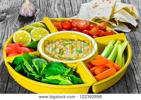 hummus carrots celery sticks spinach ginger sliced lime olive oil ** Note: Soft Focus at 100%, best at smaller sizes