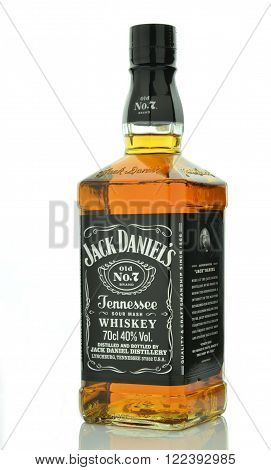 CIRCA MARCH 2016 - GDANSK: Bottle of Jack Daniels whiskey isolated on white background. Jack Daniels sour mash whiskey has been distilled in Tennessee USA since 1866