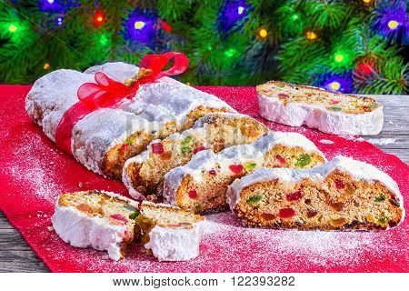 Christmas Stollen traditional german christmas cake with dried fruits nuts