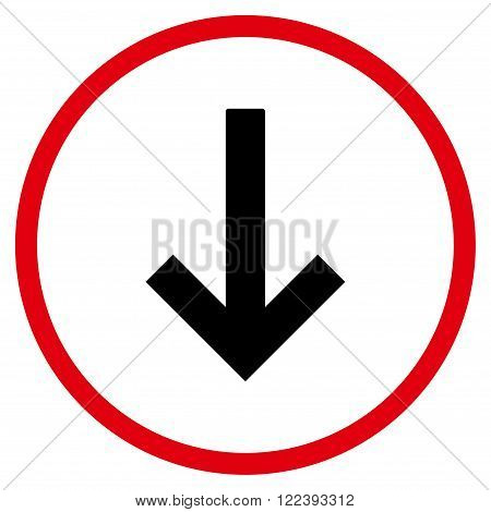 Down Arrow vector bicolor icon. Picture style is flat down arrow rounded icon drawn with intensive red and black colors on a white background.