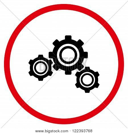 Config vector bicolor icon. Picture style is flat gears rounded icon drawn with intensive red and black colors on a white background.