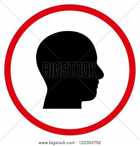 Head Profile vector bicolor icon. Picture style is flat head profile rounded icon drawn with intensive red and black colors on a white background.