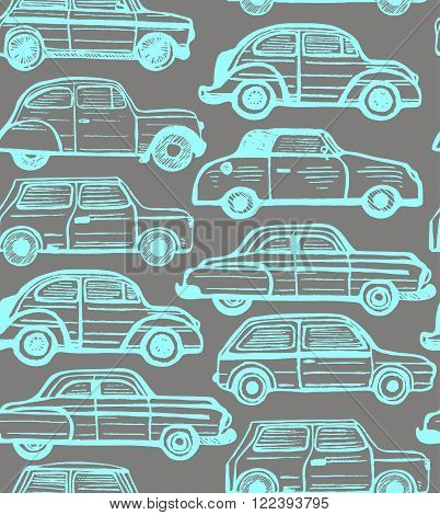 vector seamless dark background with hand-drawn retro cars