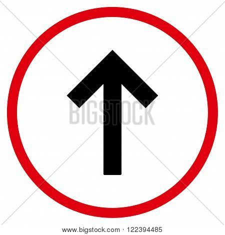 Up Arrow vector bicolor icon. Picture style is flat up arrow rounded icon drawn with intensive red and black colors on a white background.