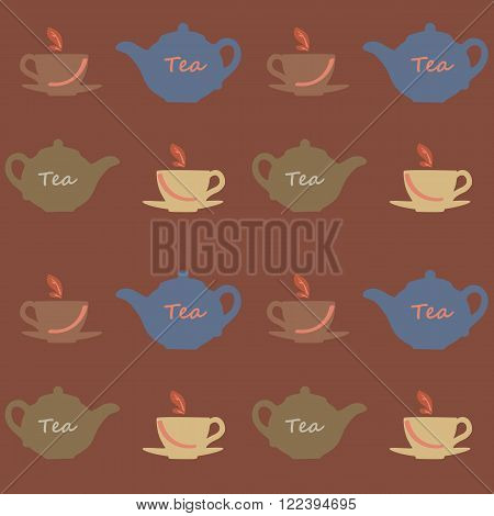 Seamless vector pattern with tea pots and tea cups on a brown background. Vector illustration. Set