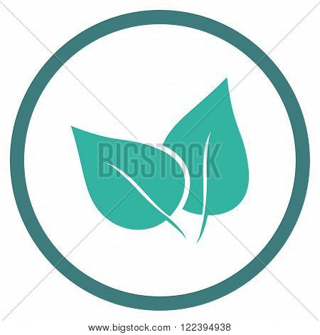 Flora Plant vector bicolor icon. Picture style is flat flora plant rounded icon drawn with cobalt and cyan colors on a white background.