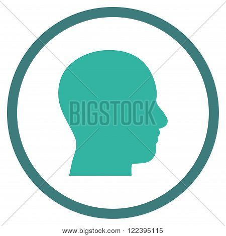 Head Profile vector bicolor icon. Picture style is flat head profile rounded icon drawn with cobalt and cyan colors on a white background.
