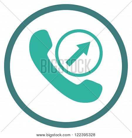 Outgoing Call vector bicolor icon. Picture style is flat outgoing call rounded icon drawn with cobalt and cyan colors on a white background.