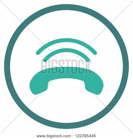 Telephone Ring vector bicolor icon. Picture style is flat phone ring rounded icon drawn with cobalt and cyan colors on a white background.