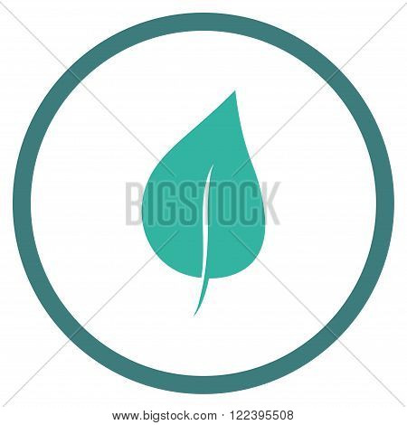 Plant Leaf vector bicolor icon. Picture style is flat plant leaf rounded icon drawn with cobalt and cyan colors on a white background.