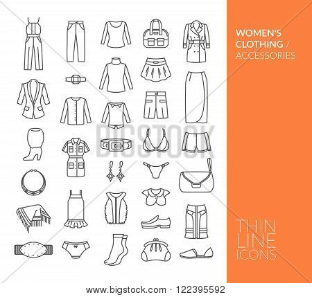 Set with thin line icons. Women's clothing and accessories. Vector illustration. EPS 10