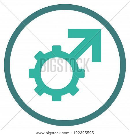 Technological Potence vector bicolor icon. Picture style is flat technological potence rounded icon drawn with cobalt and cyan colors on a white background.