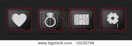 Black Love Badge Icon