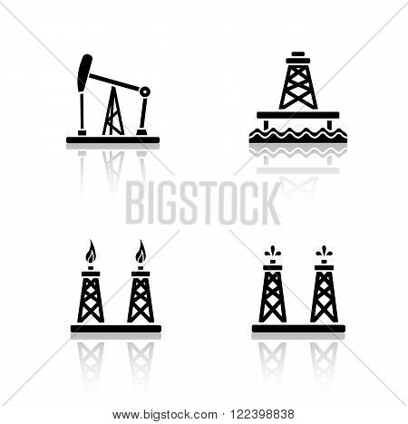 Oil platforms drop shadow icons set. Drilling rig, offshore well, gas and petroleum production industry. Cast shadow  symbol concepts. Fossil drilling towers. Vector black silhouette illustrations