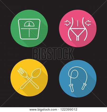 Women fitness flat linear icons set. Floor scales, weight loss, skipping rope, crossed spoon and fork. Diet nutrition. Long shadow outline logo concepts. Vector line art illustrations on color circles