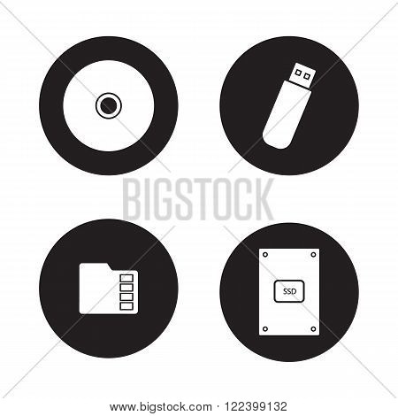Data storage devices black icons set. External ssd hard drive, portable usb stick, micro sd mobile memory card, compact disc. Digital gadgets. White silhouettes illustrations. Vector logo concepts