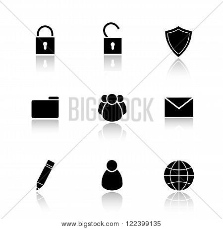 File manager drop shadow icons set.  Data storage user interface buttons. Edit and folder icons. Server ui elements. Private and group user symbols. Vector silhouette illustrations and logo concepts