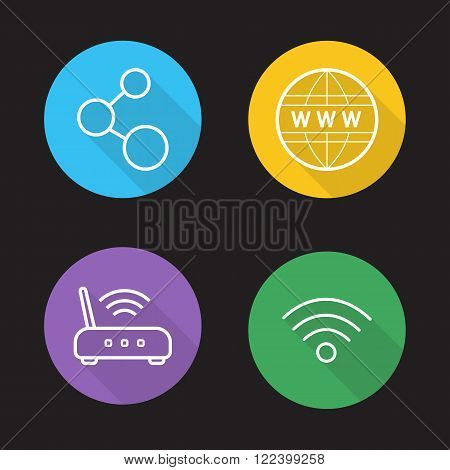 Wifi flat linear icons set. Wireless internet communication. Data transfer, wi-fi signal, global network connection. Long shadow outline logo concepts. Line art vector illustrations on color circles