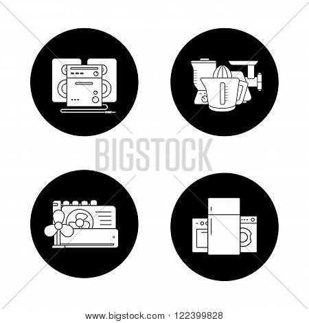 Household appliances black icons set. Consumer electronics, white goods, kitchenware items, sound system, air conditioning equipment. White silhouettes illustrations. Logo concepts. Vector