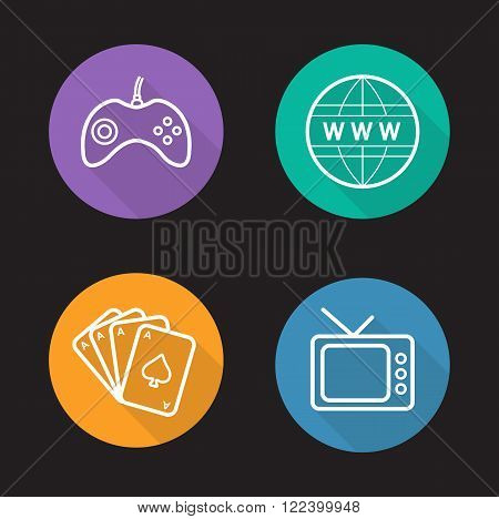 Addictions linear icons set. Game console joystick, www internet symbol, playing cards deck, retro tv. Bad habits long shadow outline concepts. White line illustrations on color circles. Vector