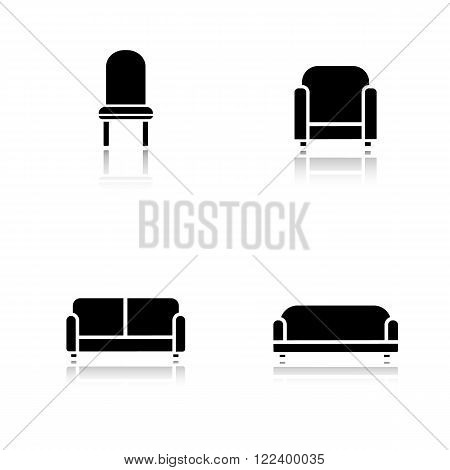 Soft furniture drop shadow icons set. Cushioned living room sofa. Home interior upholstery chair. Furnishing couch and armchair. Cast shadow logo concepts. Vector black silhouette illustrations