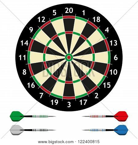 Dart board with a set of colorful darts and isolated on a white background.