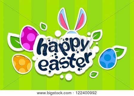 Rabbit Ears Bunny Painted Eggs Happy Easter Holiday Banner Colorful Greeting Card Flat Vector Illustration