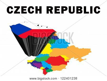 Outline map of Eastern Europe with the Czech Republic raised and highlighted with the national flag