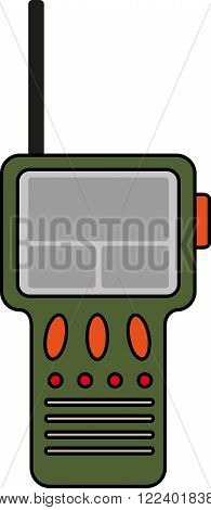 Flat image of green portable radio with antenna