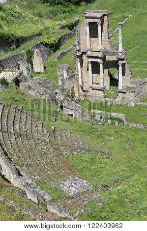 ancient ruins of the Roman Theater in Volterra of Tuscany, Italy