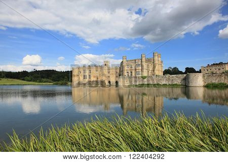 Leeds Castle and lake, landmark near London, UK