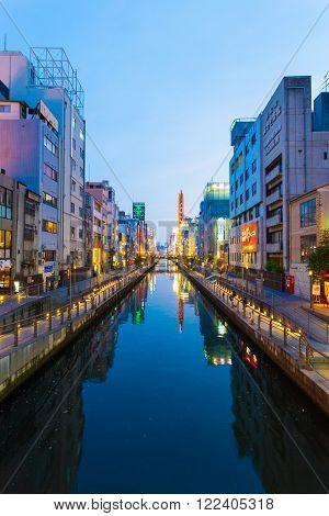 Dotonbori Canal Blue Hour Evening Osaka V
