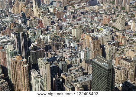 New York City aerial view with skyscrapers. America.