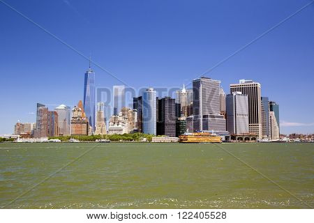New York skyline downtown manhattan from Governors Island. America.