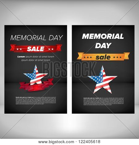 Memorial day poster with sale tag and flag in star