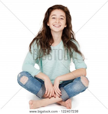 cheerful cute teen girl 17-18 years, isolated on a white background