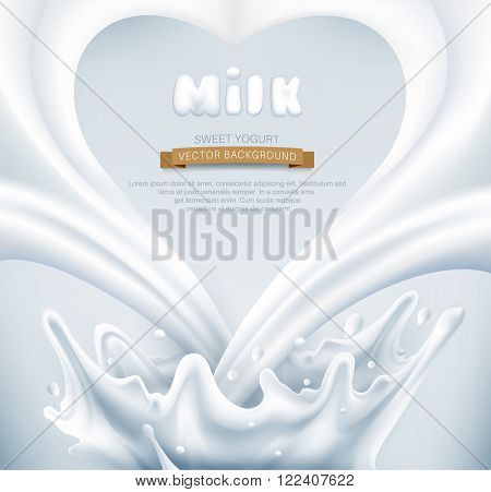 vector. Milk splash in the form of heart on a gray background
